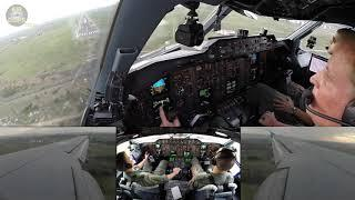 German Air Force Airbus A310 BREATHTAKING split screen landing, COCKPIT VIEW!!! [AirClips]