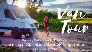 """Solo female traveler builds out 144"""" Sprinter and lives on the road"""
