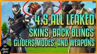 FORTNITE 4.5 LEAKED SKINS,GLIDERS & HARVESTING TOOLS: FEMALE OMEGA,DETECTIVE SKINS & MORE!