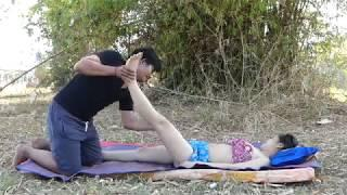 Massage Asian ! Show How To Do foot Massage with Oil  For Female Massage Therapy.