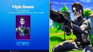 *NEW* Female Skull Trooper Skin Gameplay - Fortnite Battle Royale Female Skull Trooper Unlocked!