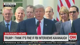 Trump talks down to female reporters asking Kavanaugh questions