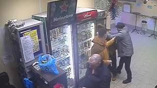 Female shop assistant knocks out a customer