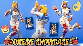 "*NEW* ONESIE ""Female Durr Burger"" SKIN SHOWCASE WITH BEST FORTNITE DANCES & EMOTES..!"