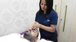 ASMR scalp head massage with face masssge by female to male .