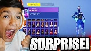 I Surprised My Little 10 Year Old Brother With *RARE* Female Galaxy Skin In Fortnite!