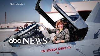 An all-female crew of fighter pilots flew in formation in honor of Rosemary Mariner